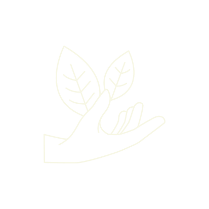 Main plante en blanc cassé