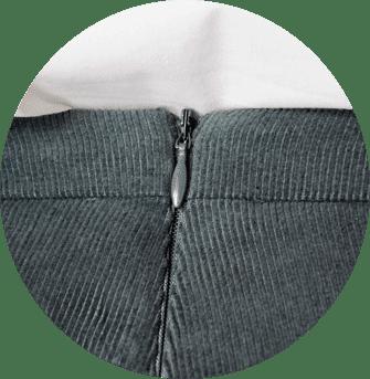 Fermeture Invisible Dos du pantalon femme en velours de coton bio gris