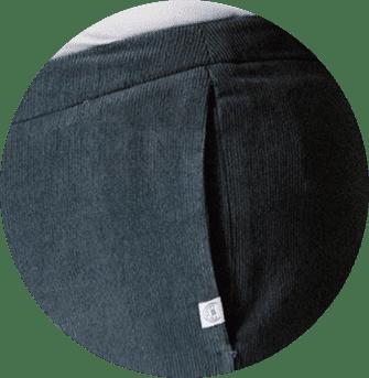 Poches Coutures du pantalon femme en velours de coton bio gris
