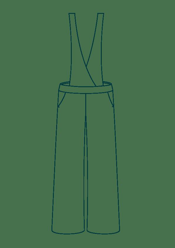 Salopette large en lin - Bretelles croisées - Modèle Femme
