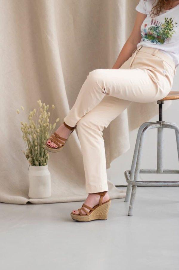 Authentique - Pantalon droit en coton crème 2