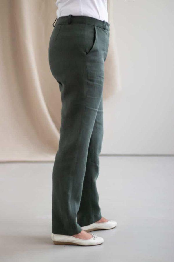 Authentique - Pantalon droit en lin jade 1