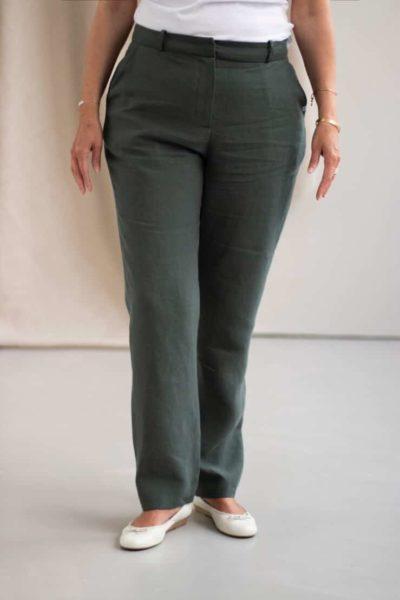 Authentique - Pantalon droit en lin jade 2