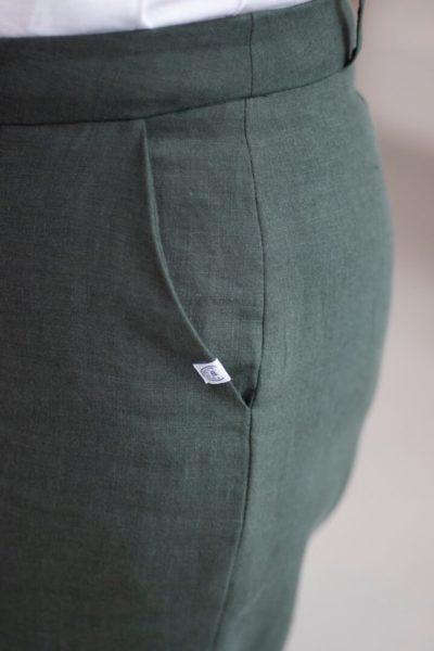Authentique - Pantalon droit en lin jade 3