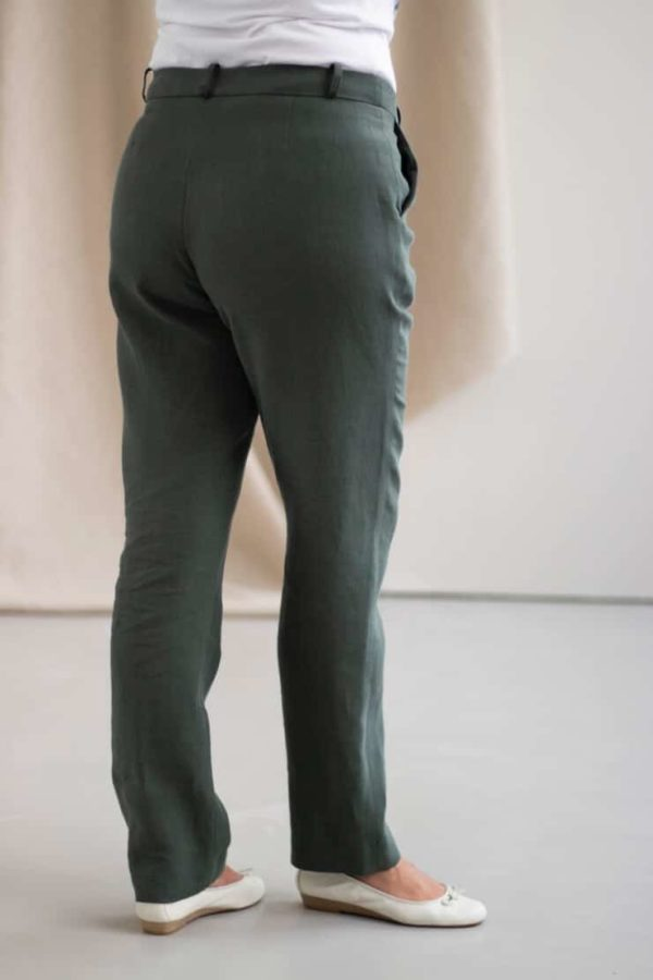 Authentique - Pantalon droit en lin jade 4