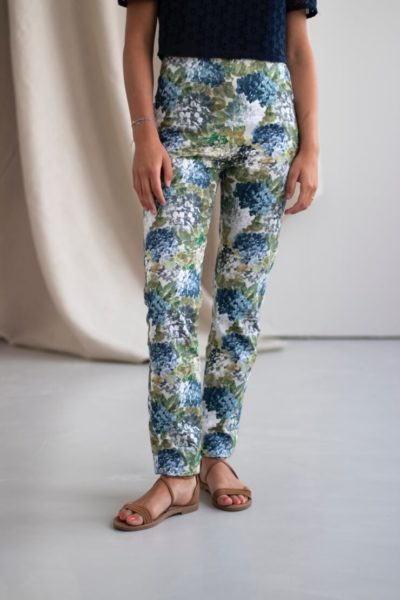 Charmant - Pantalon cigarette en coton fleuri 1