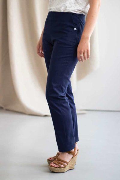 Charmant - Pantalon cigarette en coton marine 2