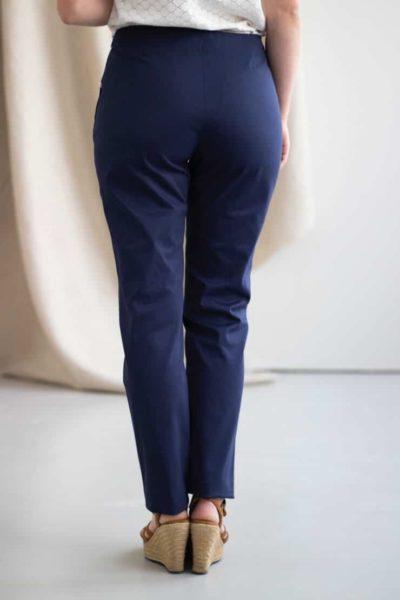 Charmant - Pantalon cigarette en coton marine 3