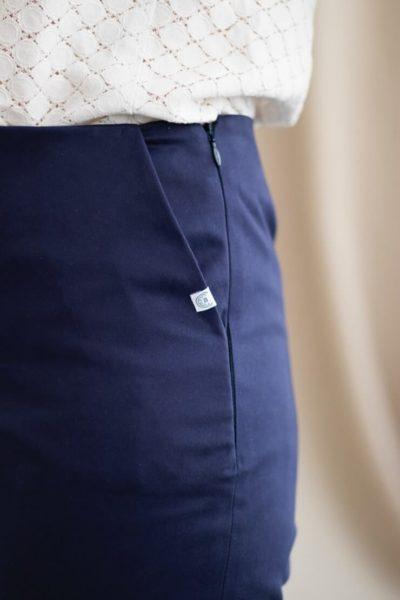 Charmant - Pantalon cigarette en coton marine 4