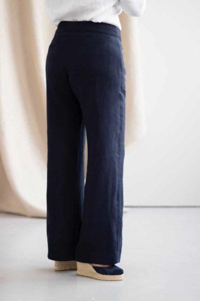 Remarquable - Pantalon large en lin marine - Dos