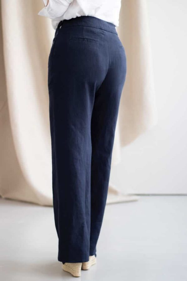 Remarquable - Pantalon large en lin marine - Dos (2)