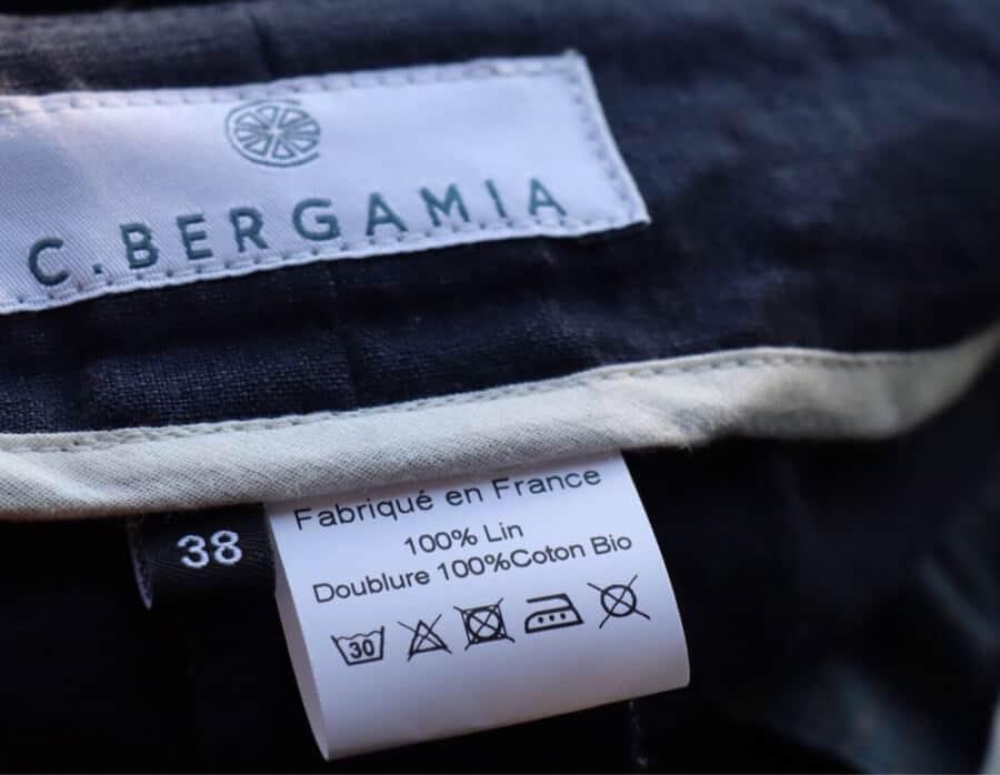 Etiquette de pantalon français fabriqué en France en lin - C.Bergamia