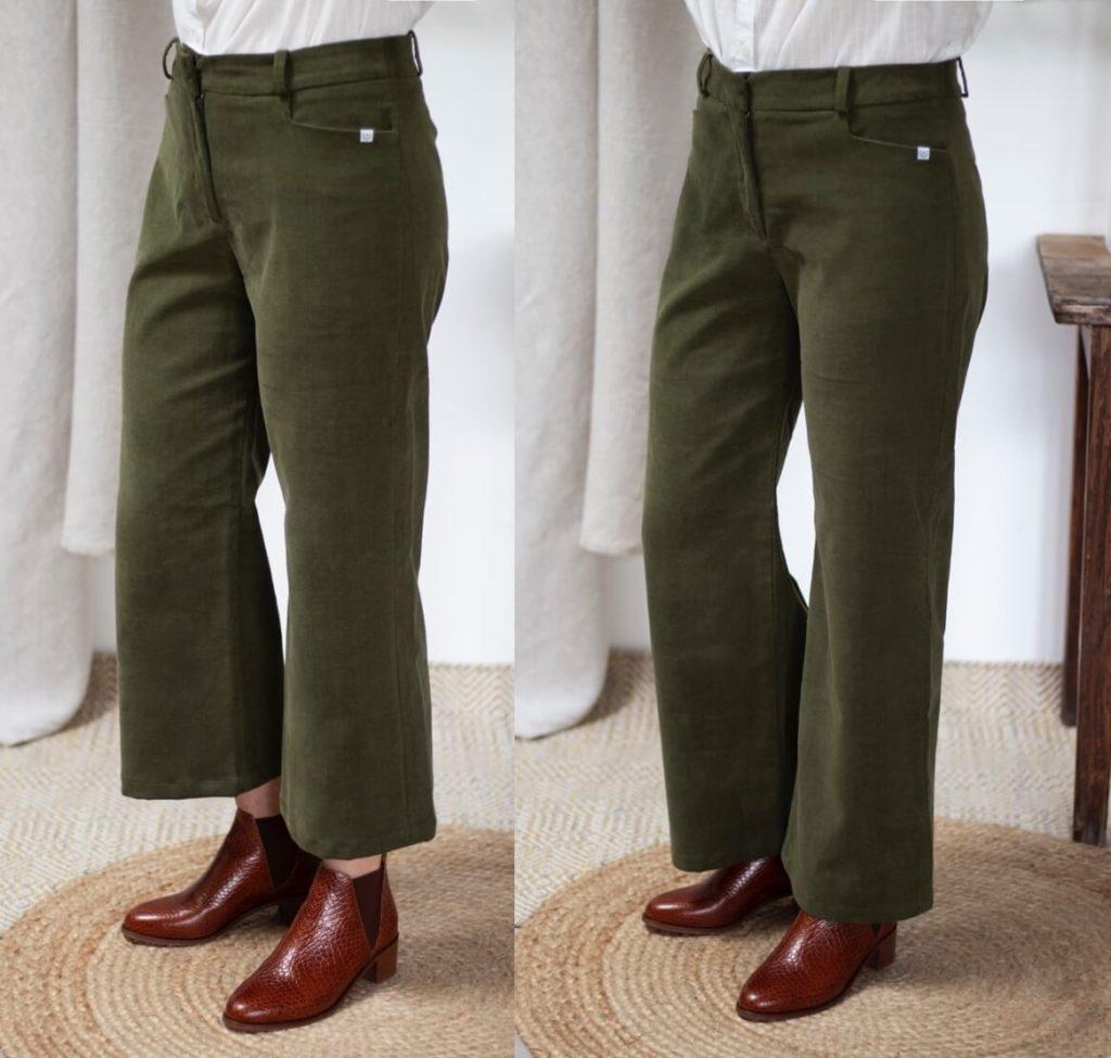 Ajuster la longueur de son pantalon - Pantalon femme en velours vert - Coton bio