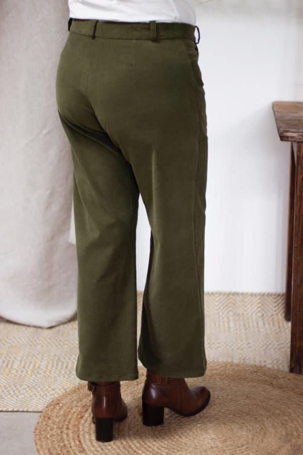 Pantalon Large en velours côtelé vert kaki - Pantalon large femme Hiver1