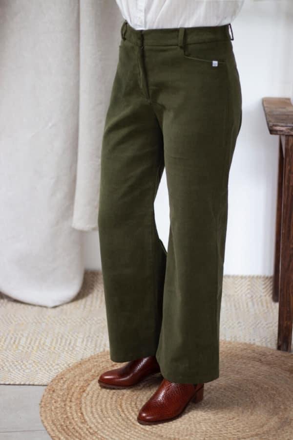 Pantalon Large en velours côtelé vert kaki - Pantalon large femme Hiver2