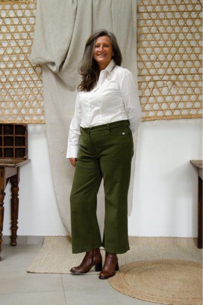 Pantalon Large en velours côtelé vert kaki - Pantalon large femme Hiver3