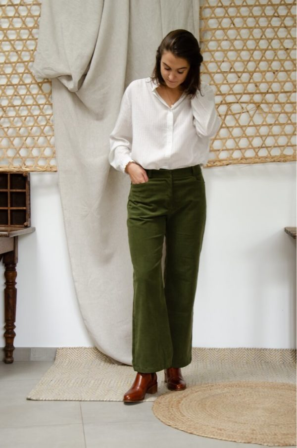 Pantalon Large en velours côtelé vert kaki - Pantalon large femme Hiver4