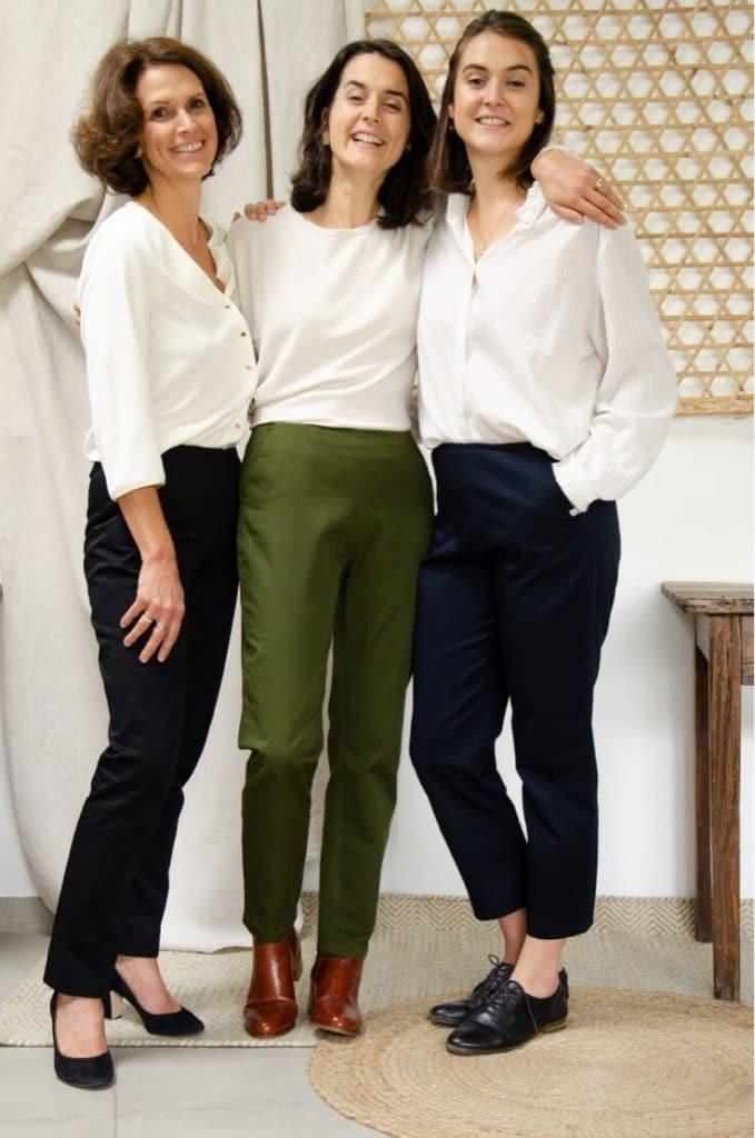 Pantalon cigarette en coton marine - Pantalon femmes fabriqués en France - Trio de couleurs