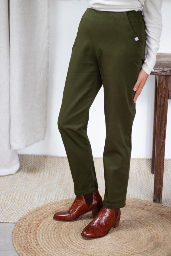 Pantalon cigarette en coton vert olive - Pantalon femme fabriqué en France - Modèle Charmant2
