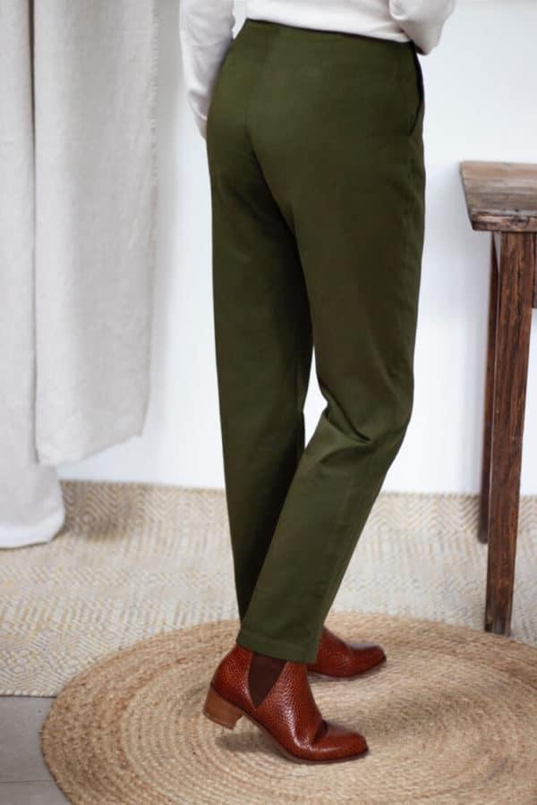Pantalon cigarette en coton vert olive - Pantalon femme fabriqué en France - Modèle Charmant3
