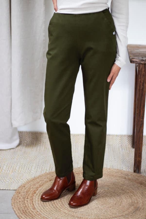 Pantalon cigarette en coton vert olive - Pantalon femme fabriqué en France - Modèle Charmant4