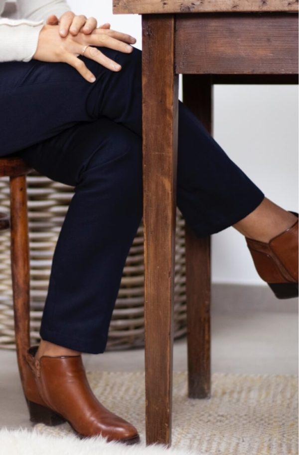 Pantalon droit en coton biologique marine - Authentique - Pantalon femme 1