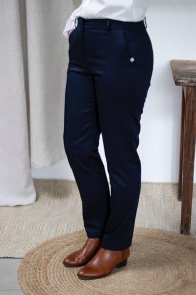 Pantalon droit en coton biologique marine - Authentique - Pantalon femme 2