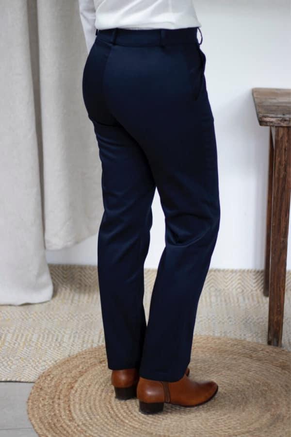 Pantalon droit en coton biologique marine - Authentique - Pantalon femme 3