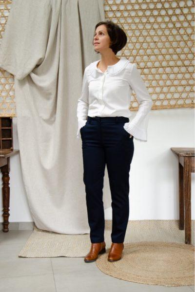 Pantalon droit en coton biologique marine - Authentique - Pantalon femme 4