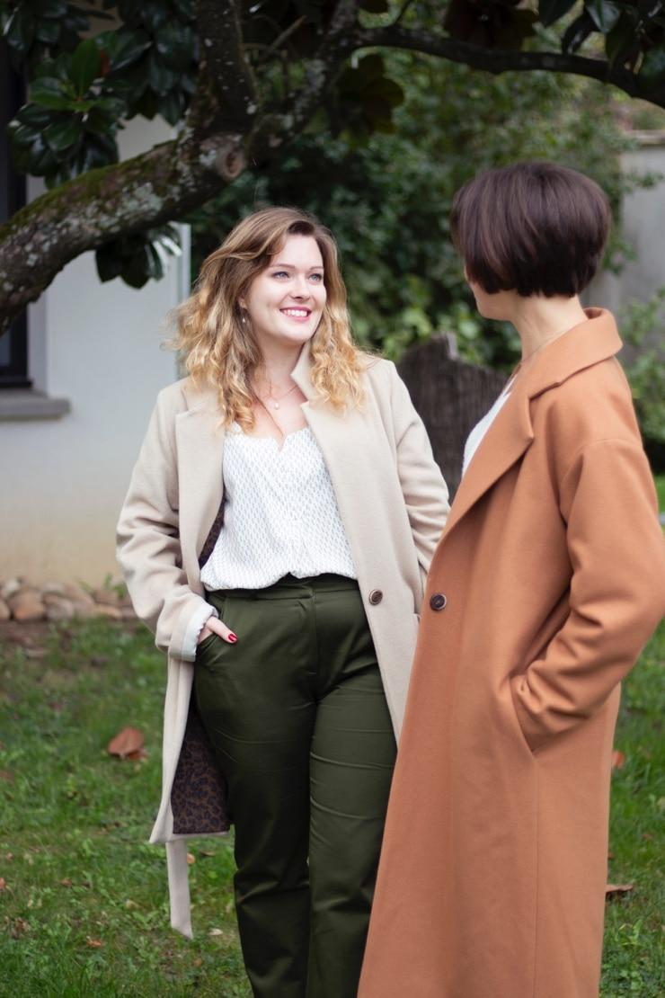 Pantalon droit en coton biologique vert olive - Authentique pantalon femme - Collection Les Basiques1