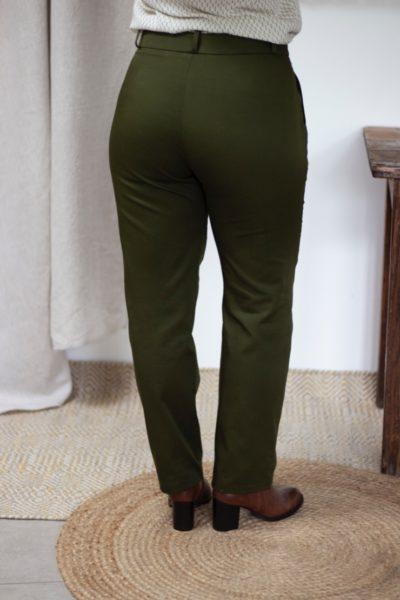Pantalon droit en coton biologique vert olive - Authentique pantalon femme - Collection Les Basiques3