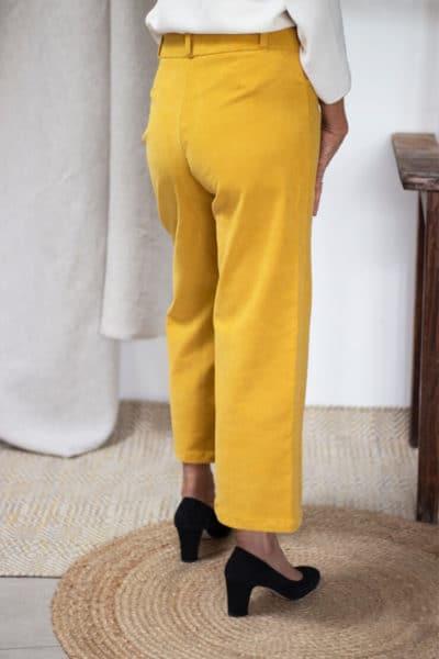 Pantalon femme en velours côtelé jaune - Coupe large HiverPantalon en velours côtelé jaune - Pantalon large femme Hiver2