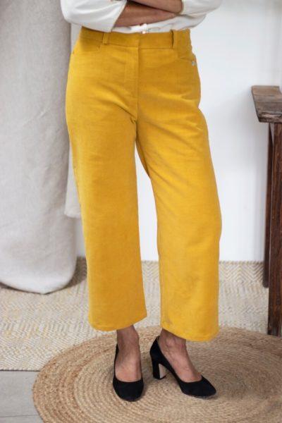 Pantalon en velours côtelé jaune - Pantalon large femme Hiver3