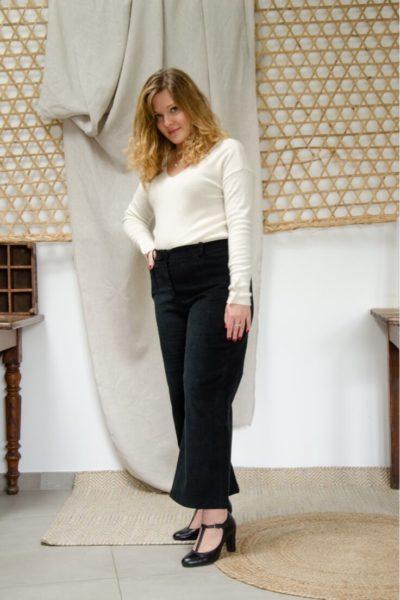 Pantalon large en velours noir - Pantalon femme Hiver