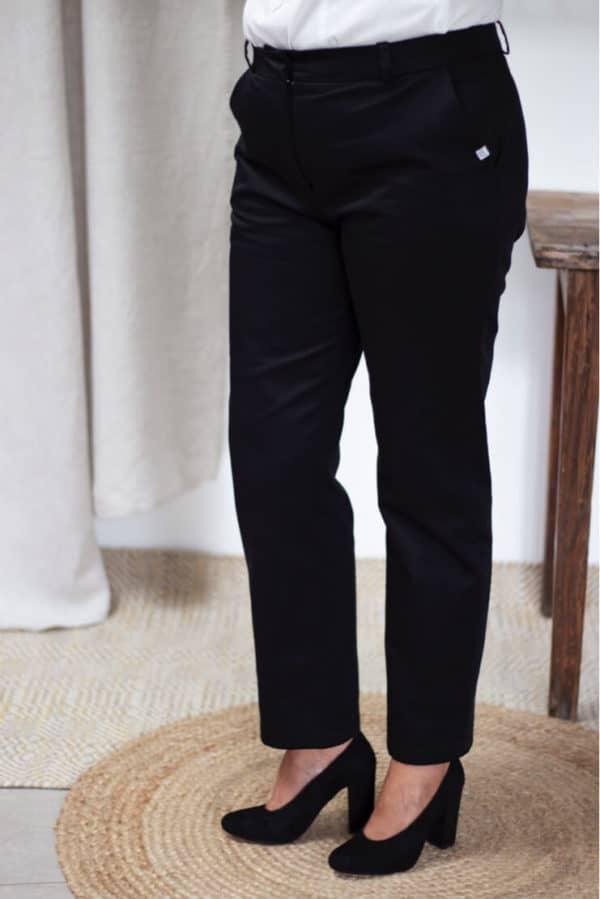 Pantalon femme en coton biologique noir - Authentique - Les Basiques