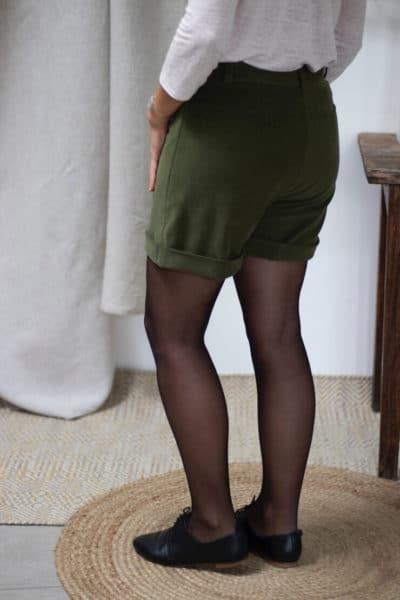 Short habillé velours vert kaki hiver femme - Velours de coton biologique2