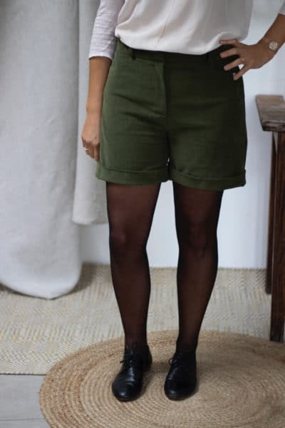 Short habillé velours vert kaki hiver femme - Velours de coton biologique3