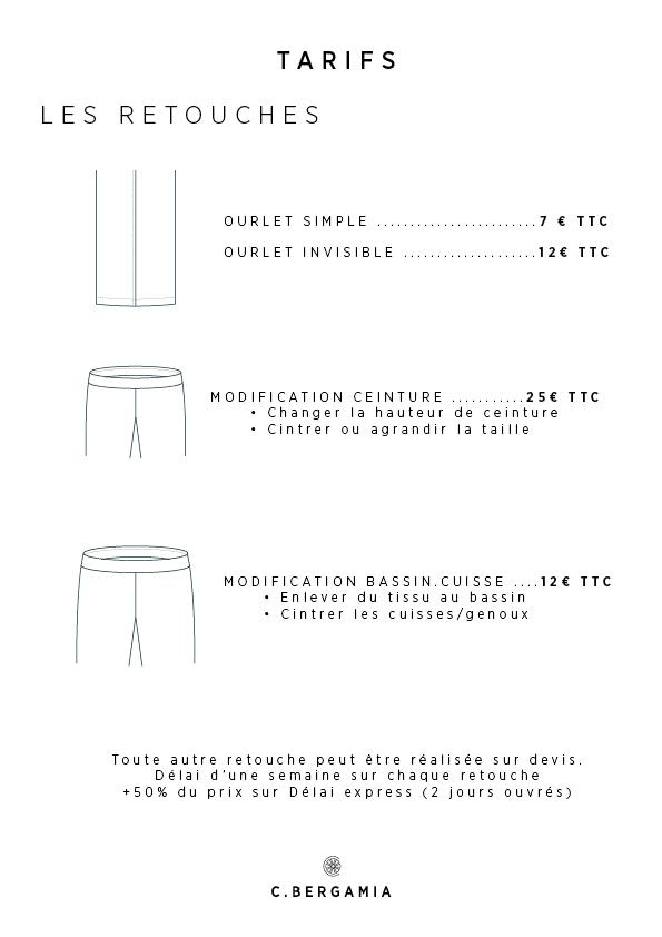 Fiche tarifaire des retouches sur le pantalon