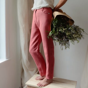 Pantalon du moment - Pantalon femme en lin rose made in France