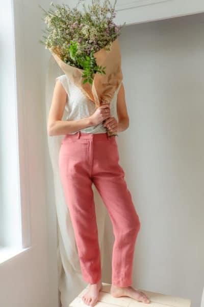 Pantalon femme droit en lin rose fabriqué en France pour une mode responsable - C.Bergamia - 1