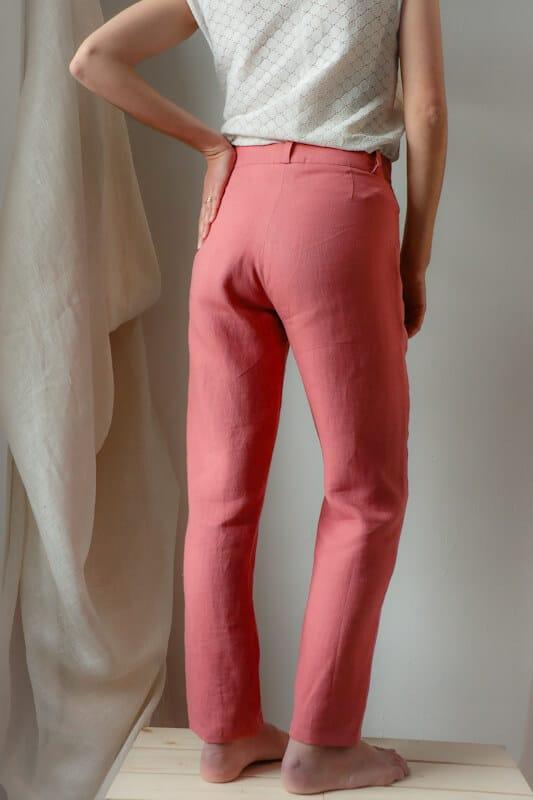Pantalon femme droit en lin rose fabriqué en France pour une mode responsable - C.Bergamia - 2