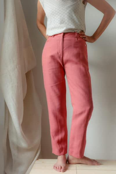 Pantalon femme droit en lin rose fabriqué en France pour une mode responsable - C.Bergamia - 3