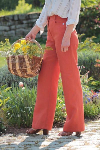 Pantalon femme large en lin orange fabriqué à Lyon - C.Bergamia