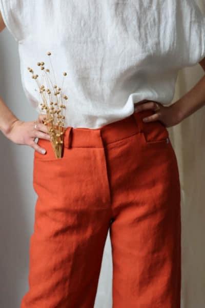 Pantalon ample en lin orange femme - Fabriqué en France par C.Bergamia - 14