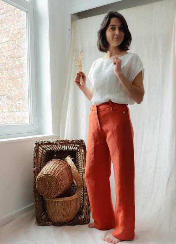 Pantalon ample en lin orange femme - Fabriqué en France par C.Bergamia - 15