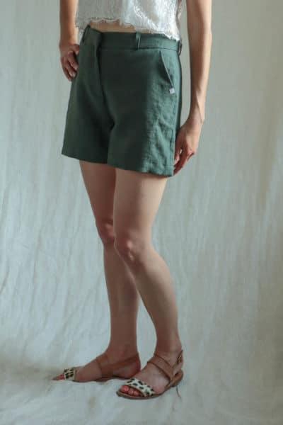 Short femme en lin jade fabriqué en France à Lyon par les ateliers français C.Bergamia 3