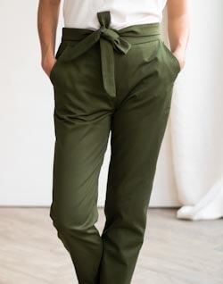 Pantalon à noeud et taille haute - Pantalon féminin